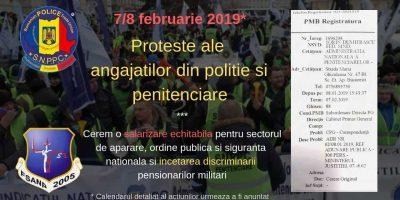 7/8 februarie 2019* - Proteste ale angajatilor din politie si penitenciare