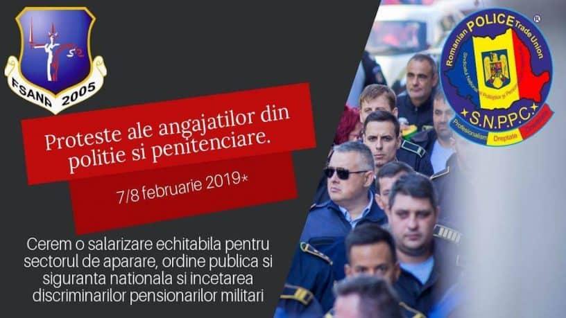 Politistii, lucratorii de penitenciare si rezervisti militari organizeaza actiuni de protest pentru conditii mai bune de munca, salarizare si pensionare
